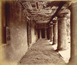 View from left end looking along interior of verandah of Buddhist Vihara, Cave II, Ajanta